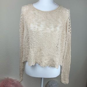 Billabong Cream Knit Fishnet Cropped Sweater